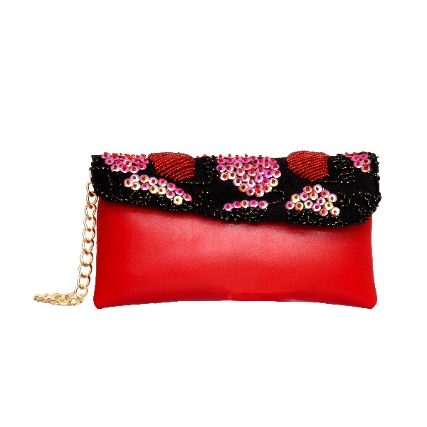 Red Clutch Bag With Beaded Flap